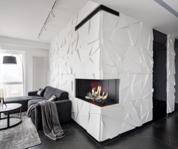 Apartment with white textured wall