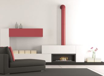 Living room with fireplace and chaise lounge